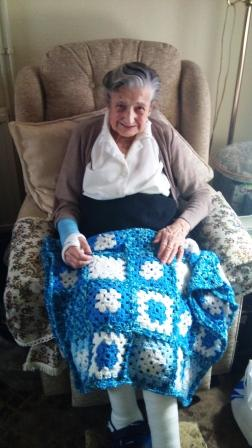 Gran with blue blanket
