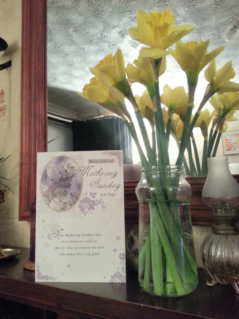 My lovely card from my even lovelier daughter and a jam jar full of daffodils. What more could a Mum want?!