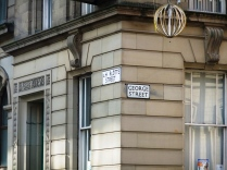"""Street signs - """"Charlotte Street"""" and """"George Street"""". I need to do some research as to who those two are and why those streets were named after them!"""