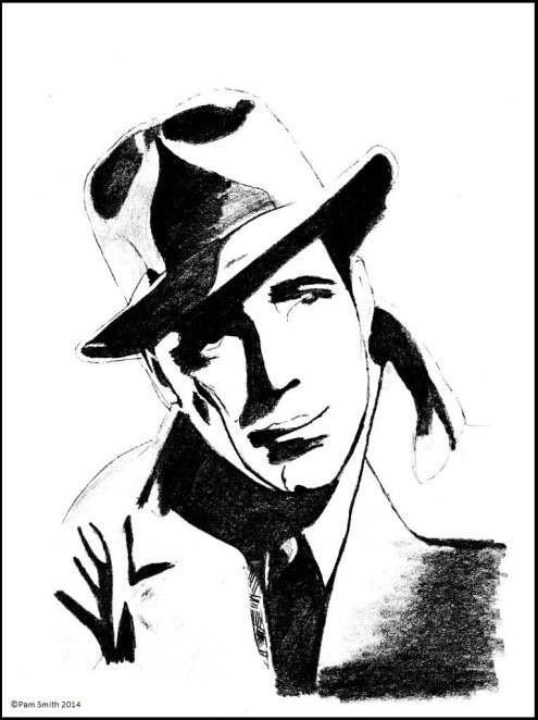 A sketch of Humphrey Bogart by me, scanned at 600dpi