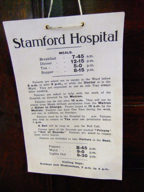 The rules of the Stamford Hospital. Note that the patients were expected to assist the nursing staff with other patients, and that each day prayers were said at a set time.