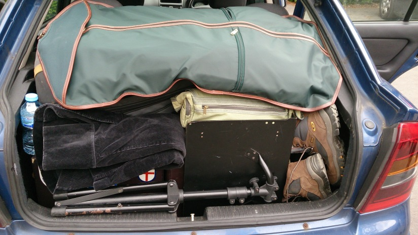 Kevin's superior boot-packing skills on show here. This is us packed up to go home. He is demonstrating his 3D Tetris skills as level expert here - there are 2 cornet cases, a bass trombone, a box of music, my conductor's case, my conductor's stand, uniforms, spare shoes and my bag all packed into the boot. And it's only an Astra!