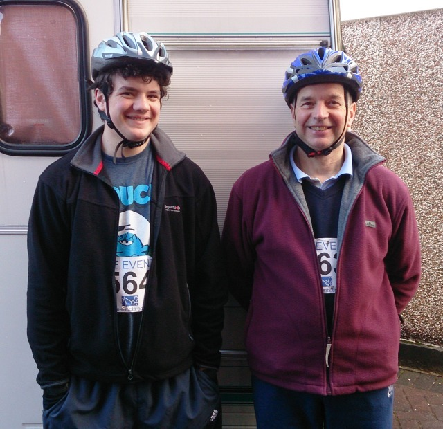This is my son Ethan and my Dad Derek early this morning before they set off on their 40 mile bike ride from Manchester to Liverpool. They look a bit happy don't they?!