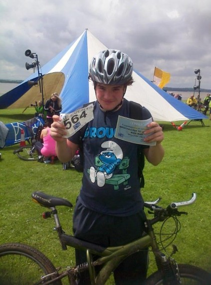 And this is my son at the end of his ride. It only took them about 4 hours to complete the whole journey which for a 15 year old lad and a 65 year old granddad isn't bad going is it?