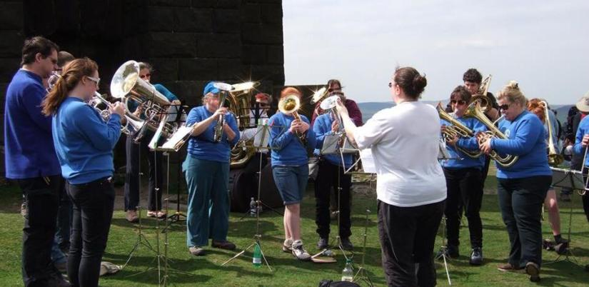me conducting at stoodley pike