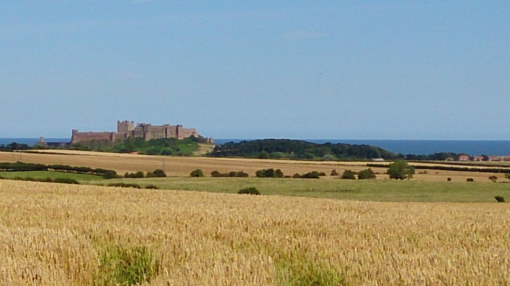 View from the road over the fields towards Bamburgh Castle