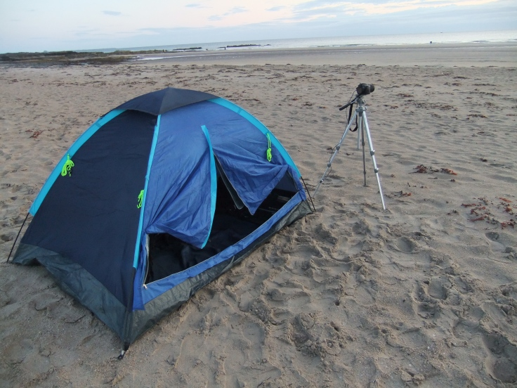 Our beach setup to take the time lapse video