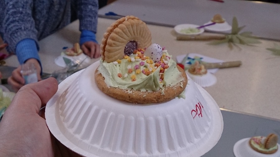 One of the crafts we did at Messy Church today. It depicts the empty tomb using biscuits, butter cream and a mini egg. It was great fun to do and the kids loved it.