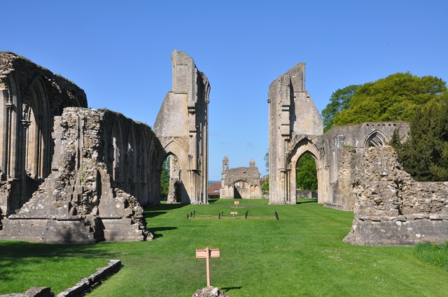 Glastonbury Abbey showing burial place of Arthur and Guinevere
