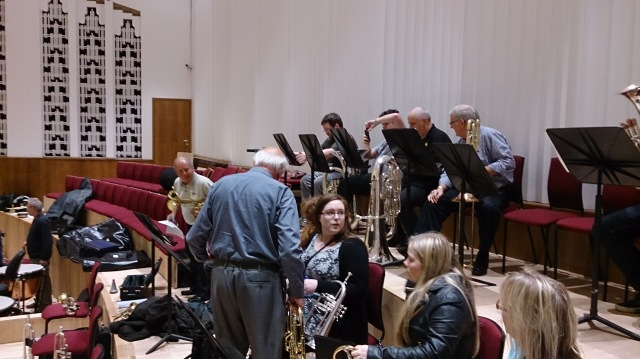 View to my right on stage at the Philharmonic Hall in Liverpool. My son - for some inexplicable reason - is taking a photo of his music in this picture. He is playing Eb bass (Tuba) for some valve practice. Like y'do...