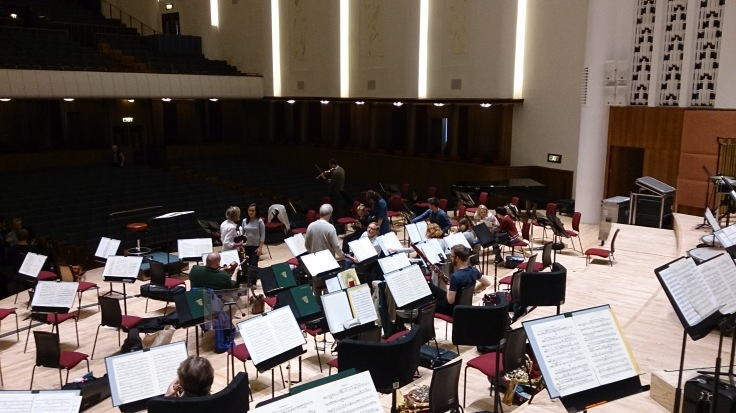 Royal Liverpool Philharmonic Orchestra gathering for the rehearsal for the Classic FM concert in the Albert Hall on 22nd September