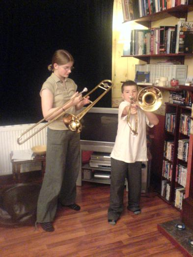 His first trombone - he could play the theme tune from Harry Potter before he'd had his first lesson