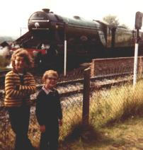 Me and Alan in front of the Flying Scotsman. I've had a ride on the footplate apparently (very proud of that!)