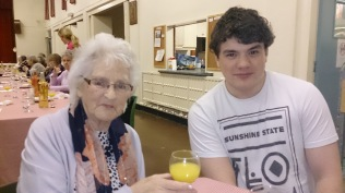 My Gran and my son at our church Maundy Thursday supper