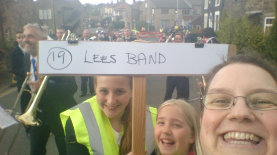 Me with the board carriers at Lydgate with the Lees Band in the background