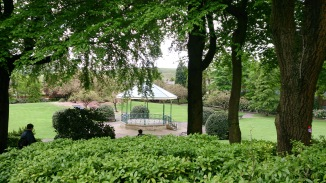 A rainy shot of the bandstand in Hare Hill Park