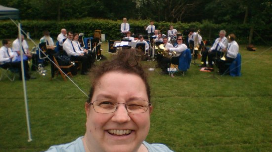 Todmorden Band at Salem Fields in Hebden Bridge. The sun burst out just after this photo was taken and I have been burned to a crisp on my conducting arm and neck. Ouch!