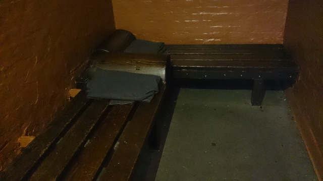A cell at the Police Museum. Note that there are two wooden beds? These cells would often hold up to 12 men at a time!