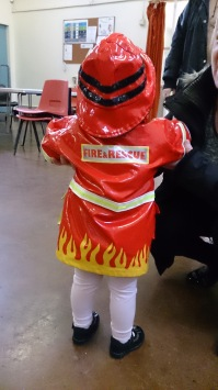We were in good hands this morning - first of all this little girl dressed as a fireman...