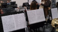 A view of the stands to my right and in front of me in band practice this evening.