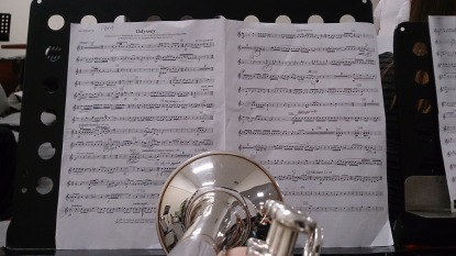 "A view down my cornet tonight. Looking at the upcoming contest piece called ""Odyssey"""